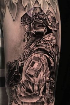 Realistic Black and Grey soldier tattoo – made in Holland by John Hudic – Sleeve tattoo - tattoo sleeve ideas Army Tattoos, Military Tattoos, Dog Tattoos, Sleeve Tattoos, Tattoos For Guys, Pirate Skull Tattoos, Pirate Tattoo, Military Sleeve Tattoo, Soldier Tattoo
