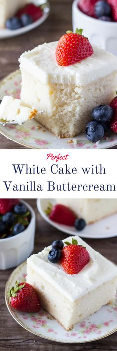 Fluffy, perfectly moist White Cake with Vanilla Buttercream. Perfect for a crowd & so much better than the bakery! Make it for your next birthday, anniversary or family celebration!