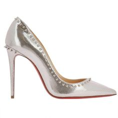 Pumps Shoes Women (171.580 HUF) ❤ liked on Polyvore featuring shoes, pumps, silver, leather shoes, leather footwear, genuine leather shoes, leather pumps and christian louboutin