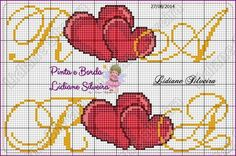 Cross Stitch Love, Cross Stitch Borders, Cross Stitch Alphabet, Cross Stitch Flowers, Cross Stitch Patterns, Loom Patterns, Flower Patterns, Embroidery, Knitting