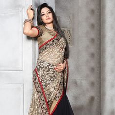 Fawn and Black Super Net Jacquard and Faux Georgette Saree with Blouse