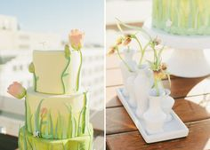 A beautiful springy floral cake! Perfect for a spring wedding or a bridal shower.