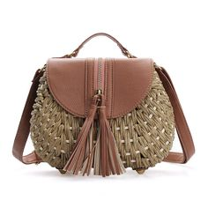 Brown Flap-top With Tassel Woven Shoulder Bag