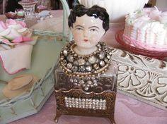 Items similar to Treasury Item....Altered Perfume Bottle and Doll M' Lady Elizabeth on Etsy