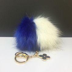 NEW! Faux Duo Blue/White Fox Fur Pom Pom bag Keyring keychain pom pom fake fur ball by YogaStudio55 on Etsy