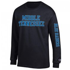 """Show your school spirit this campus long sleeve t-shirt. Long sleeve t-shirt combines comfort with spirited style to create a new favorite look. Classic t-shirt features the school name and """"Blue Raiders"""" printed on the sleeve. #MTSU #textbookbrokers #blueraiders"""