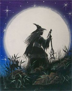 "Folk Art HALLOWEEN Witch PRINT ""Full Moon"" Witch Walking Black Cat  Full Moon Byrum on Etsy, $10.99"