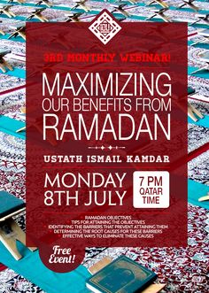 ‎IOU presents its 3rd Monthly ‎Webinar!   This month's TA is Ustath Ismail Kamdar.   The topic is ‎Ramadan  Coming, in sha Allah, on MONDAY 8th July 2013 7 PM Qatar time! Webinar Link:  http://iou-gtc.wiziq.com/online-class/1304433-webinar-series-03-maximizing-our-benefits-from-ramadan