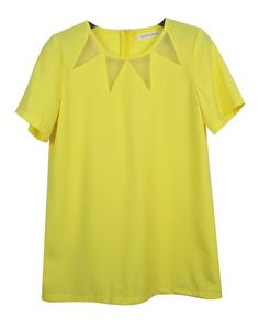 Vintage Candy Color Short-sleeved Chiffon Shirt Yellow / SheInside