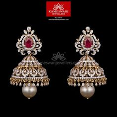 Buy Earrings Online | 3-in1 Diamond Jhumkis from Kameswari Jewellers
