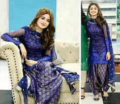 From short frocks to shalwar kameez, Sajal Ali dresses can give you an idea how to look trendy and adorable in every season. Patiala Dress, Punjabi Dress, Salwar Kameez, Punjabi Suits, Anarkali Suits, Churidar, Pakistani Dresses Casual, Indian Gowns Dresses, Pakistani Dress Design