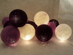 Amazon.com: Black, Purple and White Cotton Ball String Lights Patio Wedding and Party Decoration(20pcs./set): Everything Else