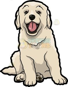 A cute Golden retriever puppy : A dog with long scruffy off white fur droopy ear. A cute Golden retriever puppy : A dog with long scruffy off white fur droopy ears sits on the floor looking a Pitbull Mix Puppies, White Puppies, Animal Drawings, Cute Drawings, I Love Dogs, Cute Dogs, Puppy Drawing, Dog Vector, Dog Crafts
