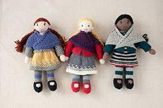 New Doll Set called Mary, Millie & Morgan, by Susan B. Anderson. An eBook for Quince & Co. Doll pattern comes with patterns for a dress, skirt, cardigan and shawl.