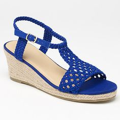 Arabella Crochet Wedge Sandal - Blue