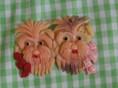 Old Vintage Scotty or Westie Terrier Craft Piece, Brooch or Barrette Top, Scottish Terriers by MendozamVintage on Etsy