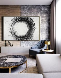 CZ Art Design. Horizontal Minimal Geometric Art, minimalist drip painting on canvas, black and white circle large canvas art #MN21C.