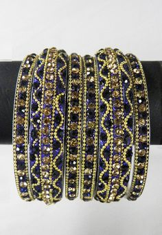 #Black and Golden #Colour Stone Studded Bangles Set Online Shopping: JPD220