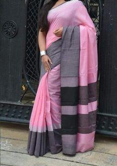 Indian Designer Party Wear Saree Sari / For Women bollywood Cotton Saree Jute Silk Saree, Tussar Silk Saree, Cotton Saree Designs, Saree Blouse Designs, Sari Blouse, Indian Silk Sarees, Indian Beauty Saree, Mirror Work Saree, Sarees For Girls