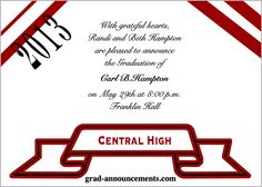 Graduation announcements were customized for Central High - These grad announcements can be personalized for any graduate student or school.