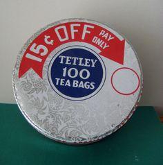 VINTAGE ANTIQUE TETLEY TEA BAG TIN CONTAINER WITH LID 100 TEA BAGS | Collectibles, Advertising, Merchandise & Memorabilia | eBay!