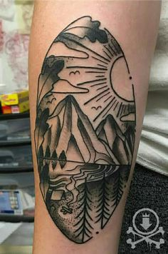 Awesome black and grey nature tattoo by Chris Curtis.  #12ozstudios #team12oz #tattoo #tattoos #tattooed #tattooart #tattooartist #ink #inked #inkedup #nature #naturetattoo #landscape #landscapetattoo #blackandgrey #blackandgreytattoo #tattoosformen #tattoosforwomen