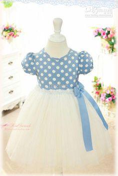 Blue and White Polka Dot Dress Baby Tutu Dresses, Baby Girl Party Dresses, Girls Formal Dresses, Elegant Dresses, Flower Girl Dresses, Bow Dresses, Dress With Bow, Pink Dress, Baby Girl Birthday Dress