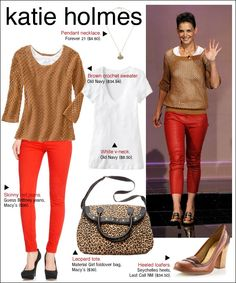 Bright skinnies, brown crochet sweater (that I can make).Definitely will be recreating.