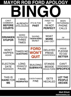 Love this guy LMAO, take him over corrupt politicians/courts/cops any day____Mayor Rob Ford Apology Bingo Rob Ford, Funny Memes, Hilarious, Funny As Hell, Drinking Games, Bingo Cards, Screwed Up, Current News, Real Talk