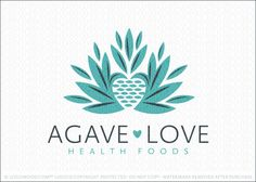 Logo for sale: Agave plant design with the agave leaves transformed to create a heart shape in the center of the agave plant.