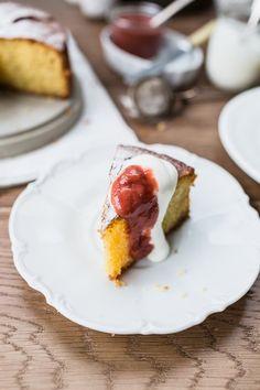 Flourless Lemon Cake with Rhubarb Compote by Izy Hossack