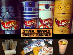 If you´re planning a Star Wars party, here is an easy option for your party favors. You´ll need black paper squares, glue stick, toilet paper rolls, candy and Star Wars printables. You can buy the ...