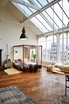 The Windows. The patterned wood floors. The Modernity along with the rustic feel.