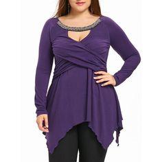 da68977761d Plus Size Beading Keyhole Neck Handkerchief Top - Purple 4xl Mobile  Clothing Sites