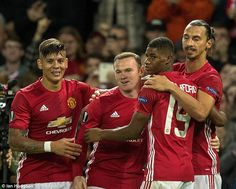Manchester United celebrate Zlatan Ibrahimovic's goal which was ultimately enough to win...