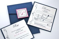 Blue Metallic Monogram Pocket Wedding Invitation