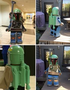This Boba Fett Lego costume, created by Dented Helmet member for his son, is one of the more technically impressive cosplays we've seen in some time. Star Wars Costumes, Cute Costumes, Costume Ideas, Nerd Costumes, 50s Costume, Minion Costumes, Vampire Costumes, Hippie Costume, Cosplay Ideas
