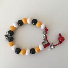 A large ceramic beads bracelet with a bee pattern #ceramicbeads #etsyshop #beadedbracelets #beesbracelet #beecool #beespattern Leather Cord Bracelets, Beaded Bracelets, Ceramic Beads, Porcelain Ceramics, Red Leather, Etsy Shop, Bees, Pattern, Handmade
