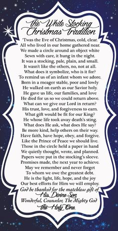 White Stocking Christmas Tradition – YW Christmas Lesson – What will you give Ch… – Hosiery Designs Christmas Poems, Christmas Program, Christmas Activities, A Christmas Story, Christmas Printables, Christmas Balls, Christmas Traditions, Christmas Holidays, Christmas Gifts