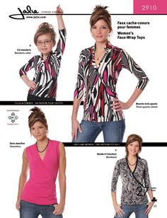 Jalie 2910 from Jalie patterns is a Women's Faux Wrap Tops sewing pattern
