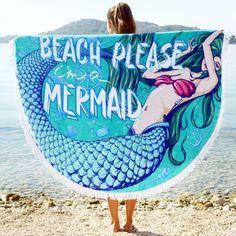 Beach Please I'm A Mermaid Round Towel - Look Mermaid Unicorns And Mermaids, Real Mermaids, Pics Of Mermaids, Mermaid Kisses, Mermaid Tails, Beach Please, Merfolk, Under The Sea, Summer Fun
