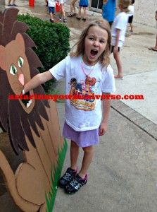 Little Diva loves the #church carnival lion. http://www.astarinmyownuniverse.com/2014/06/29/sundays-in-my-city-106-vbs-fun/