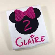 Girls Minnie Mouse Silhouette  Hot Pink Sequin Birthday Number Onesie or Shirt