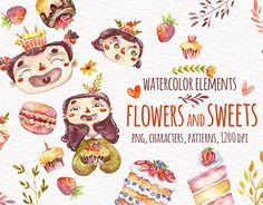 """Check out new work on my @Behance portfolio: """"Watercolor sweets and flowers"""" http://be.net/gallery/57042793/Watercolor-sweets-and-flowers"""