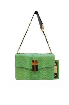 ANGEL JACKSON  SAMAYA MINI BOX BAG IN BRIGHT GREEN COBRA SNAKESKIN 1