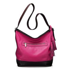 A sophisticated choice for fashion forward ladies, our color blocking satchel has refined details for a gorgeous bag.     Shop now >>>  http://www.slotanna.com/trendy-womens-calf-leather-shoulder-bag-with-tassels---color-blocking-p-1070.html