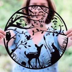 Woodland - Mounted Paper Cut by Shop Paper Scissors It could be cut out of adhesive vinyl and adhered to window or mirror. Silhouette Art, Silhouette Projects, Kirigami, Stencils, Papier Diy, Scan And Cut, Scroll Saw Patterns, Woodland Creatures, Book Art