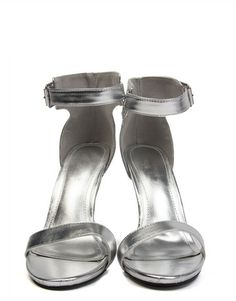 Metallic Open Toe Stilettos