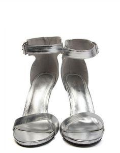 Metallic Open Toe Stilettos