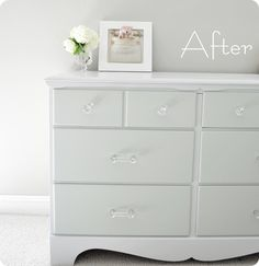 white with crystal knobs